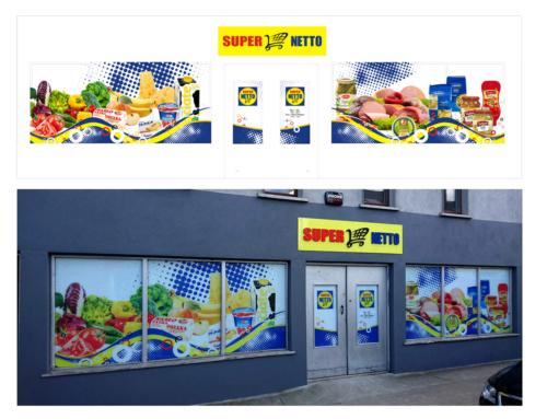 Projekt szyldu sklepowego orazwitryny sklepowej – SUPER NETTO