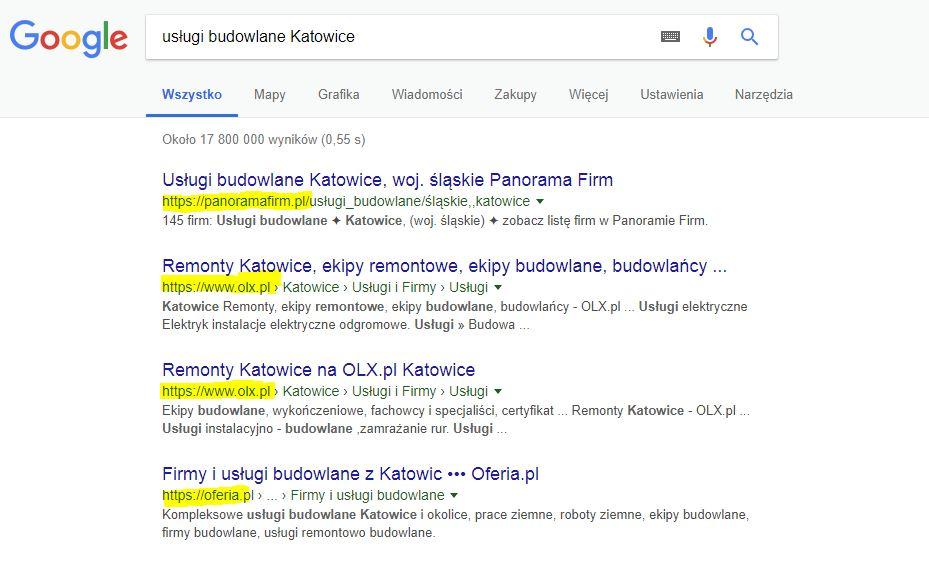Przykład pozycjonowania się dużych fraz nafrazy związane zKatowicami.